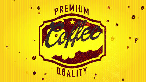 50s style premium value coffee signboard presenting with fancy middle figure over glassy lined scene Animation