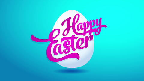 happy easter ecard for website invitation with realistic egg graphic and vivid calligraphy on top Animation