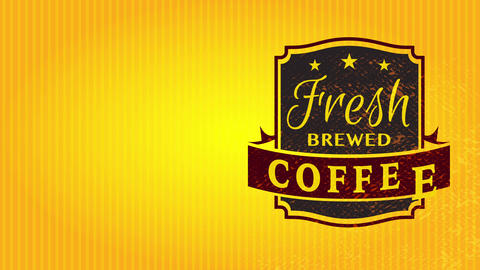 fresh brewed coffee wrapping pattern with mature refined seal on outstanding electric gold cardboard Animation