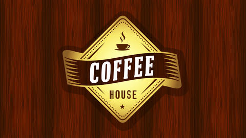 diamond figure emblem for coffee house sign with elegant elements and dark lacquered wood background Animation