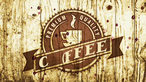 classic cafe mark advertisement fancy value coffee with warm cup visual engraved on old timber Animation