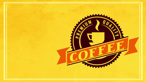 classic hot beverage coffee sign with 50s fancy circular icon and old-fashioned font over yellow Animation