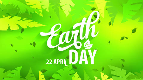 earth day greeting card with white handwriting over green jungle design to praise residence and Animation