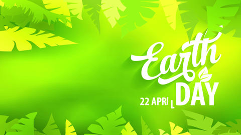 earth day reception postcard with white handwriting over green forestry design towards celebrate Animation