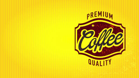 50s style premium quality coffee signboard showing with stylish central figure over glassy lined Animation