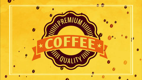 retro cafe announcement for fancy value coffee product with brilliant golden border and irregular Animation