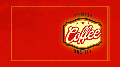 fancy quality coffee sign on red velvety scene manipulation aged handwriting for cafe or tavern Animation