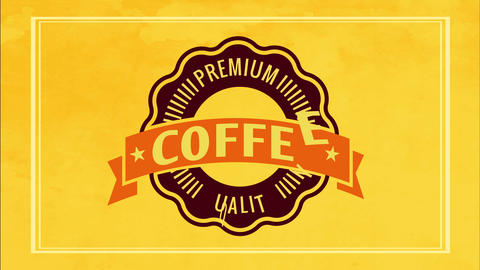 retro cafe ad for premium quality coffee product with vivid yellow frame and wavy edge icon Animation