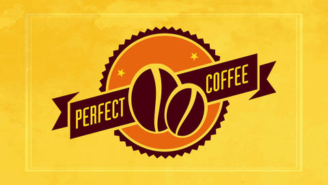 roasted coffee beans graphics in the center of circle emblem with 50s style ribbon for cafe or diner Animation