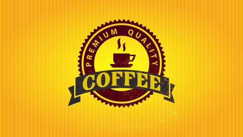 big jagged edge rounded icon for premium quality coffee in the center of luminous striped wrapping Animation