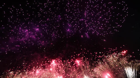 Fireworks at night sky, isolated on black background, 4th of July Live Action