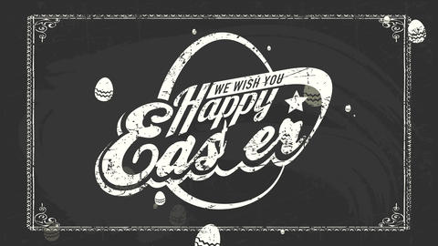 stone and wrap laughing easter mark for embryo hunt occasion on black blackboard with fatal offset Animation