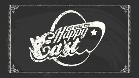 rock and roll happy easter sign for egg hunt event on black chalkboard with futuristic typography Animation