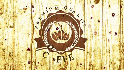 fancy value coffee cafe shop mark with beans and grain component in rounded emblem over wood texture Animation