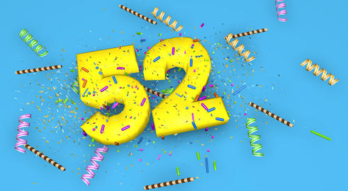 Number 52 for birthday, anniversary or promotion, in thick yello Fotografía