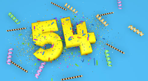 Number 54 for birthday, anniversary or promotion, in thick yello Fotografía