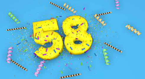 Number 58 for birthday, anniversary or promotion, in thick yello Fotografía