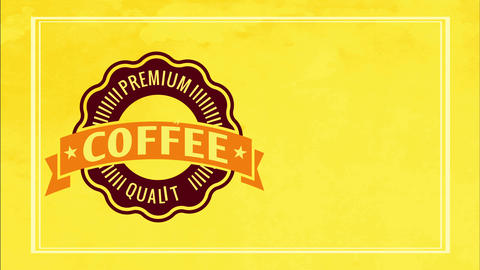 retro cafe advertisement for fancy quality coffee product with colourful gold border and wavy edge Animation