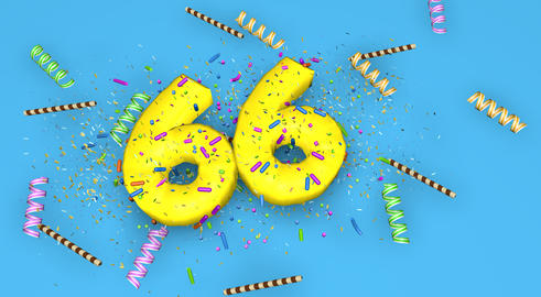 Number 66 for birthday, anniversary or promotion, in thick yello Fotografía