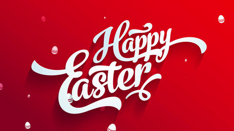 red satisfied easter greeting cardboard for egg hunt party with handwriting elements with 3d effect Animation