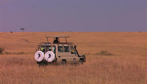 A man sits in a parked vehicle on the plains, looking around Footage