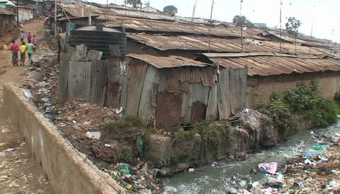 Polluted water flowing in an unhealthy slum Footage