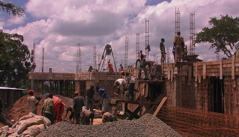Construction workers building a house Footage