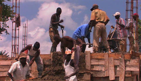 Workers in a construction site in Africa Footage