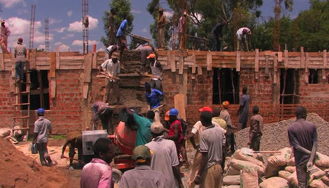 Construction workers building a house Stock Video Footage