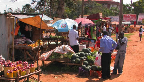 People buy produce at stands, cars pass by on the street Footage