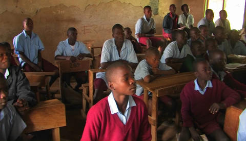 Classroom full of children in Africa Stock Video Footage