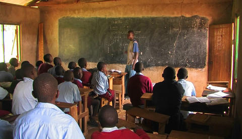 Children learning in a classroom in Africa Stock Video Footage