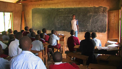 Children learning in a classroom in Africa Footage