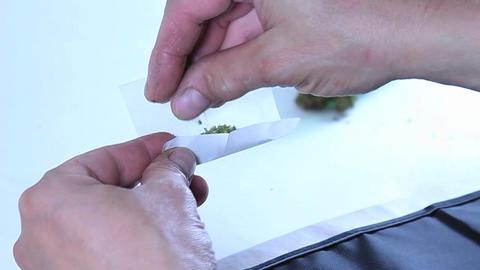 A man rolls a marijuana cigarette Footage