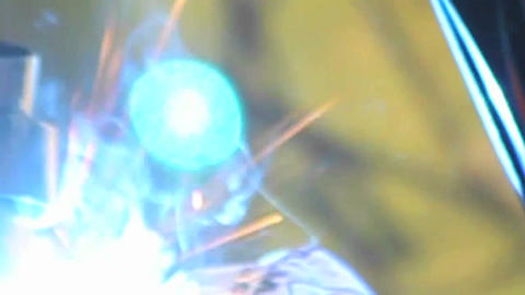 An abstract shot of welding with sparks flying Footage