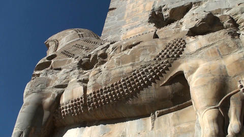 A Bas Relief Carved In Stone In The Ruins Of The Ancient City Of Persepolis In Iran stock footage