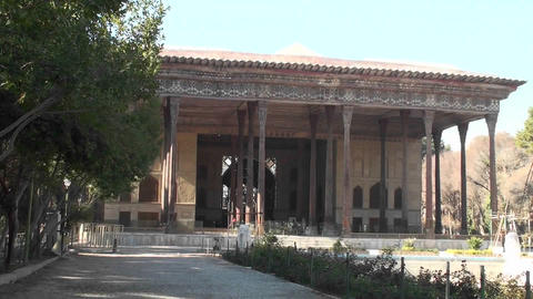 The Chehel Sotun, also known as the Palace of Forty... Stock Video Footage