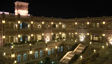 The International Hotel Dad in Yazd, Iran at night Stock Video Footage