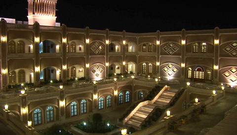The International Hotel Dad in Yazd, Iran at night Footage