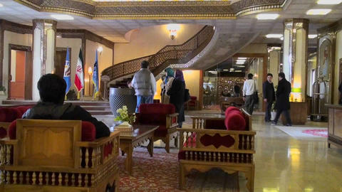 The interior of the International Hotel Dad in Yazd, Iran Footage