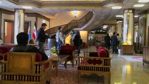 The interior of the International Hotel Dad in Yazd, Iran Stock Video Footage