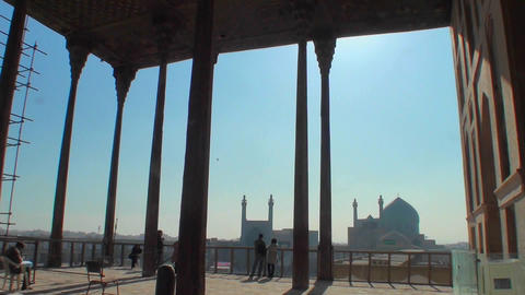Looking out on Naqsh-e Jahan Square in Isfahan, Iran from Ali Qapu Palace Footage