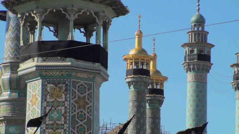 Traditional Islamic spires in a building in Iran Stock Video Footage