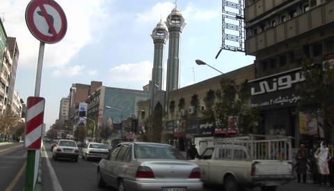A busy city street in Tehran, Iran Stock Video Footage