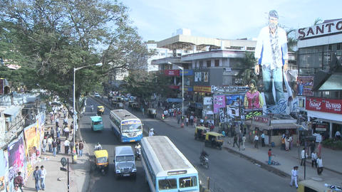Time lapse view of traffic and pedestrians traveling down... Stock Video Footage