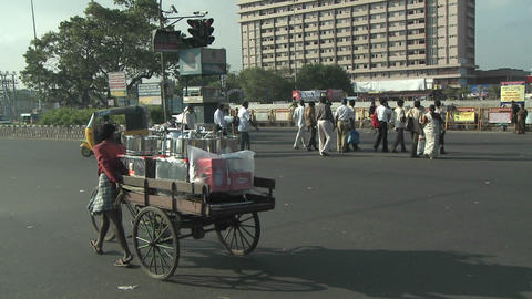 A street in India with vehicles and people Stock Video Footage