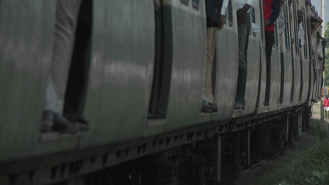 A Passenger Train Approaches Quickly stock footage