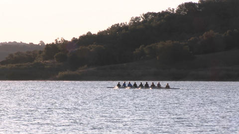 Eight person rowing sweep and double scull on Lake... Stock Video Footage
