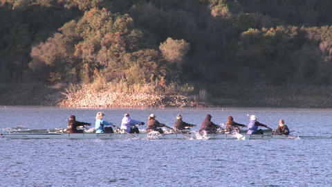 Panning of an eight person rowing sweep on Lake Casitas... Stock Video Footage