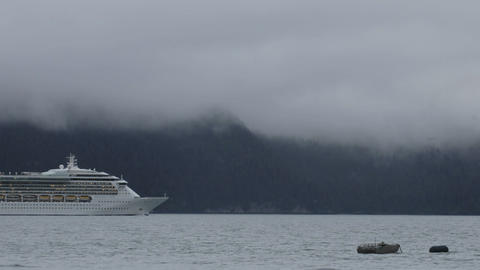 Time lapse of a cruise ship leaving Seward, Alaska Stock Video Footage
